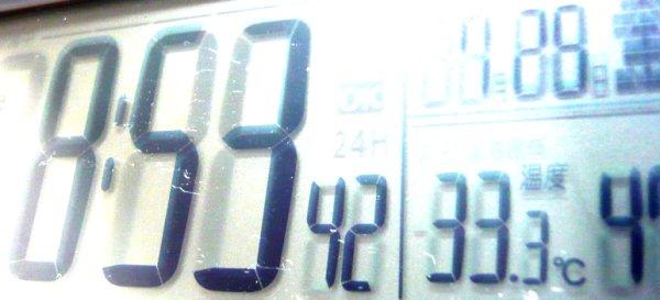室温が33℃に・・・!暑い!
