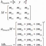 DirectXとOpenGLの回転行列、回転軸、回転方向